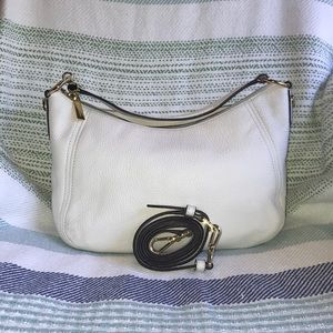 Michael Kors pebbled leather white hobo bag